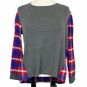 SHI SHAN E SHI Gray Tee w/ Plaid Oxford Shirt Back